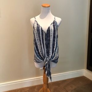 Olivaceous Patterned Tank with Front Tie